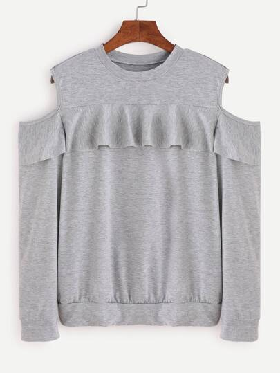 Grey Open Shoulder Ruffle Trim Sweatshirt