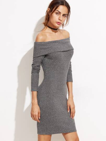 Heather Grey Foldover Off The Shoulder Ribbed Dress