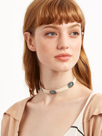 Beige Geometric Carved Turquoise Choker Necklace