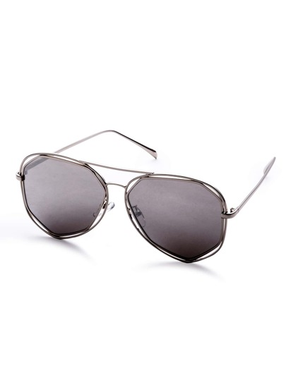 Metal Frame Grey Lens Hollow Out Sunglasses
