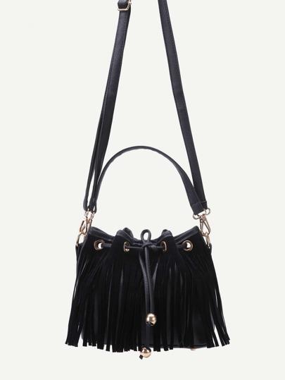 Black PU Tassel Fringe Drawstring Bucket Bag