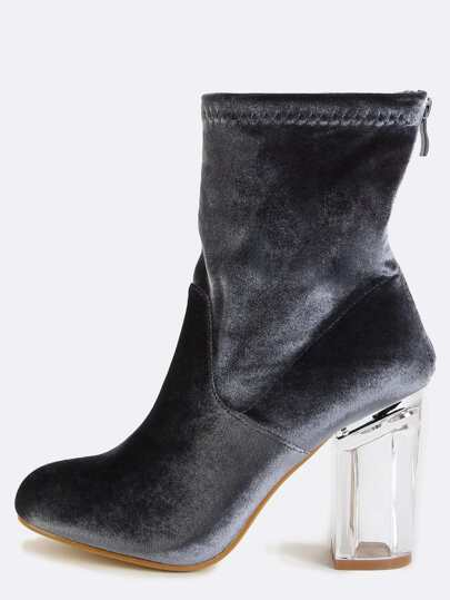 Perspex Velvet Ankle Boots GREY