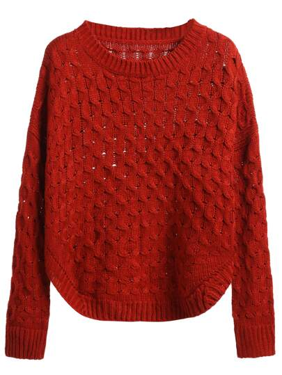 Brick Red Curved Hem Eyelet Sweater