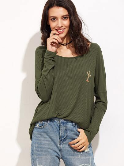 Olive Green Drop Shoulder Cactus Embroidered Ribbed T-shirt