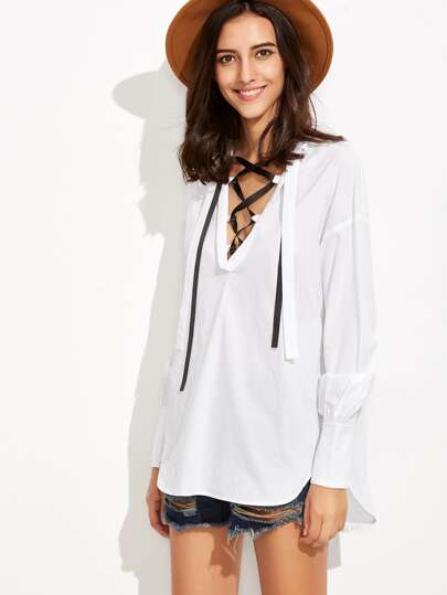 White Lace Up V Neck Split Back Blouse