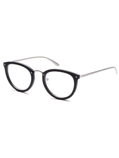 Matte Black Frame Silver Arm Glasses
