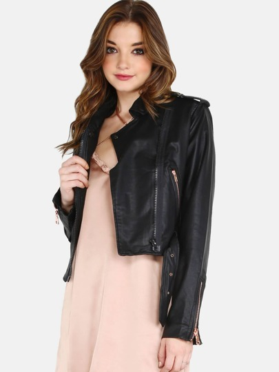 Cropped Faux Leather Moto Jacket BLACK