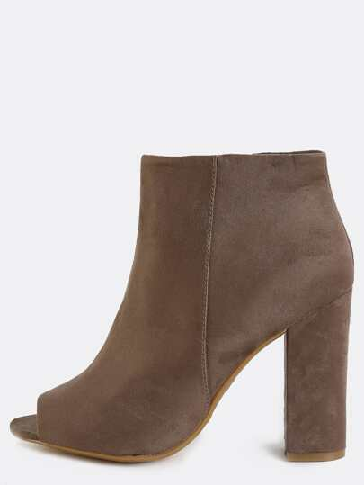 Peep Toe Suede Chunky Heel Boots TAUPE