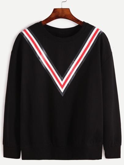 Black Striped Trim Drop Shoulder Seam Sweatshirt