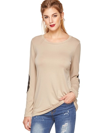 Apricot Long Sleeve Elbow Patch T-Shirt