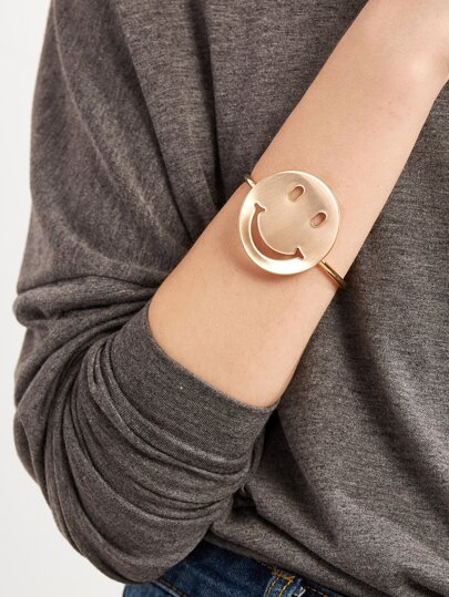 Gold Plated Smiley Face Wrap Bangle