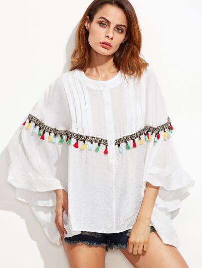 Bluse mit Stickereien und Quaste Saum Fledemausärmel-weiß