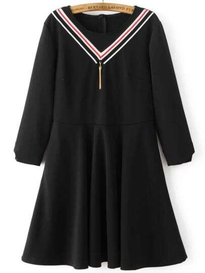 Black Chevron Pattern A Line Dress With Tassel