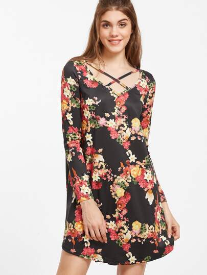 Robe imprimé floral col avec lacet croisé - noir