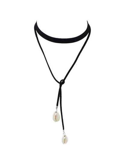 Black Braided Pu Leather Chain Choker Necklace With Shell
