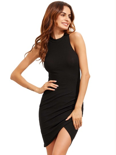 Black Crew Neck Sleeveless Ribbed Wrap Dress