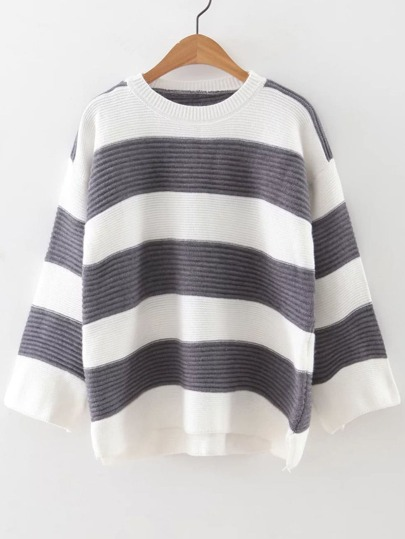 Grey Striped Ribbed High Low Sweater