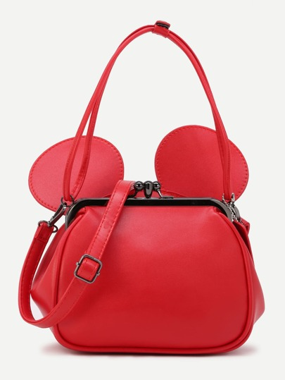 Red PU Metallic Trim Convertible Shoulder Bag With Ear