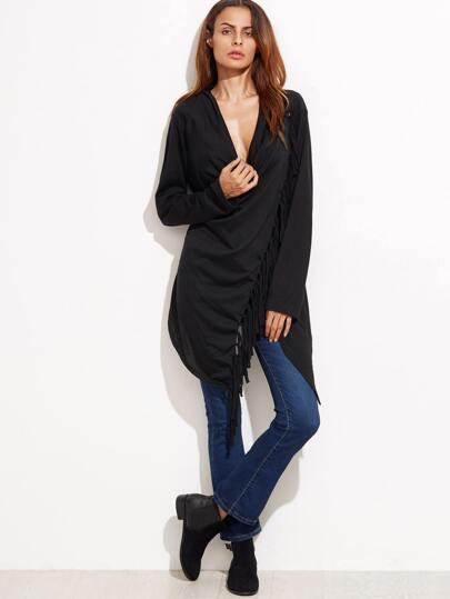 Black Drape Front Fringe Asymmetric Coat