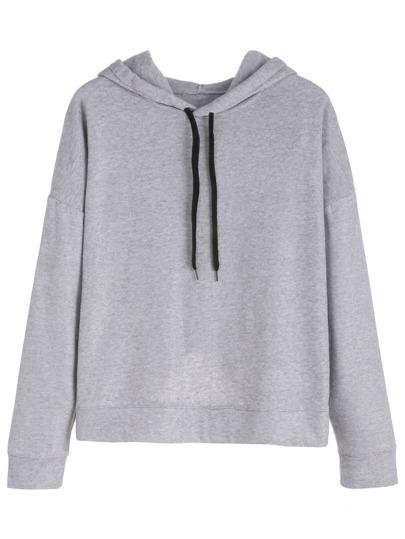 Grey Wrap Back Hooded Sweatshirt