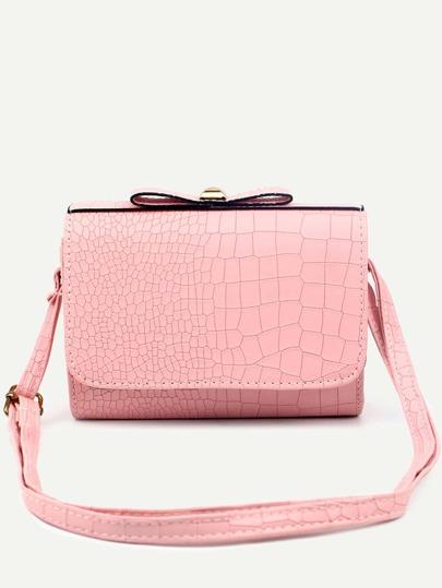 Pink Faux Leather Crocodile Embossed Flap Shoulder Bag
