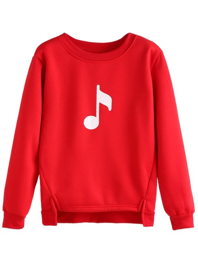 Red Music Note Print High Low Sweatshirt