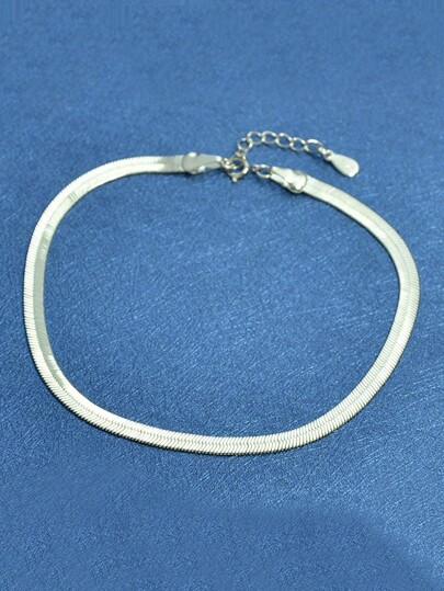 925 Silver Wide Snake Chain Bracelet For Women