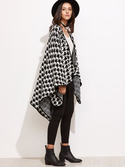Black And White Houndstooth Poncho Cardigan With Binding