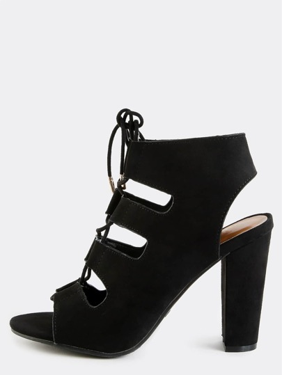 Strappy Open Toe Lace Up Heels BLACK