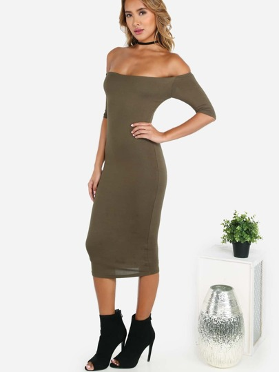 Sleeved Open Shoulder Midi Dress OLIVE