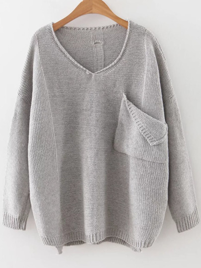 Ripped Dip Hem Pullover Sweater With Pocket
