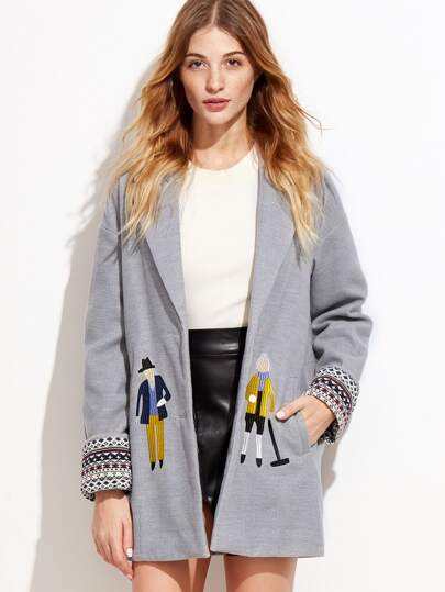 Drop Shoulder Contrast Cuff Embroidered Coat