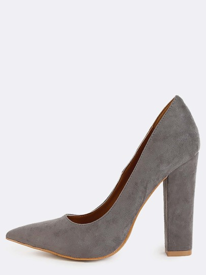 Chunky Heel Pointed Toe Pumps GREY