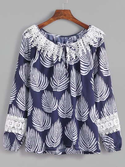 Dark Blue Leaves Print Tie Neck Crochet Trim Top