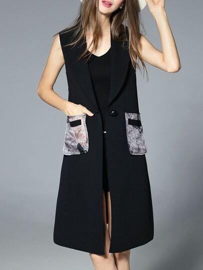 Black Sleeveless Pockets Print Vest