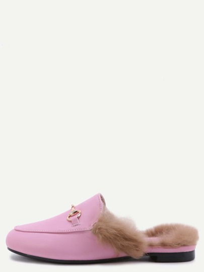 Pink Faux Leather Fur Lined Slippers