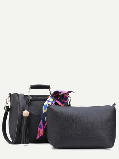 Black PU Tassel Handbag Set With Convertible Strap