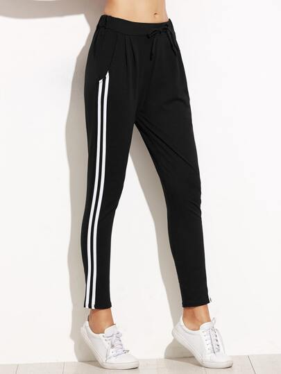 Black Side Stripe Drawstring Waist Pants