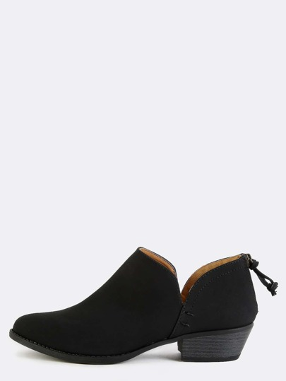 Low Cut Western Inspired Boots BLACK