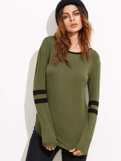 Olive Green Varsity Striped Sleeve T-shirt