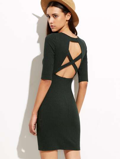 Olive Green Cutout Crisscross Back Ribbed Sheath Dress