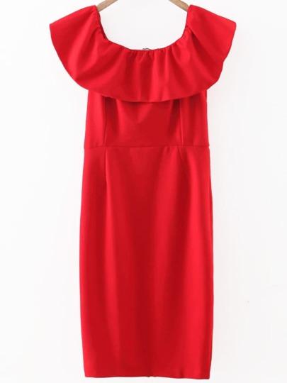 Red Ruffle Off The Shoulder Sheath Dress