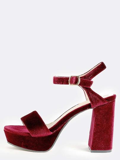 Velvet Platform Chunky Heels WINE