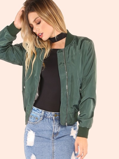 Lightweight Nylon Bomber Jacket HUNTER GREEN