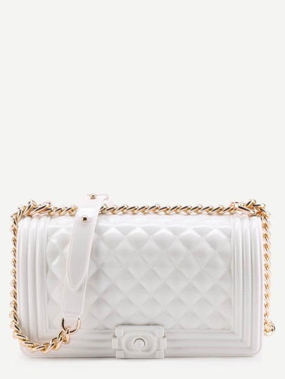 Mini Porcelain White Quilted Flap Jelly Bag With Chain
