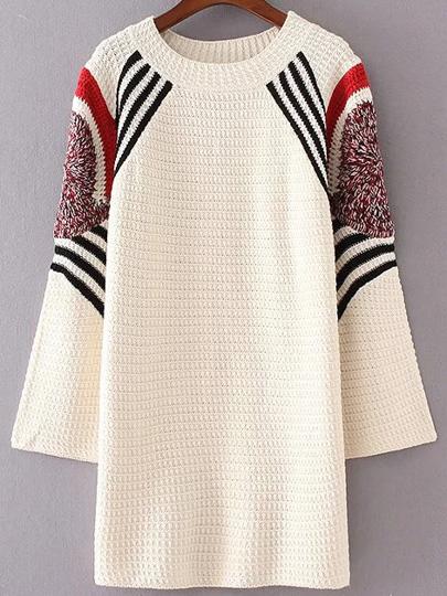 Beige Striped Shift Sweater Dress