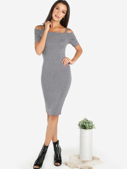 Short Sleeve Cold Shoulder Rib Knit Midi Dress GREY