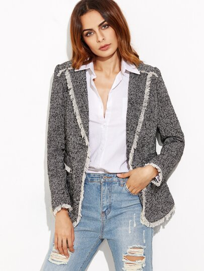 Black And White Tweed Blazer With Contrast Fringe Trim