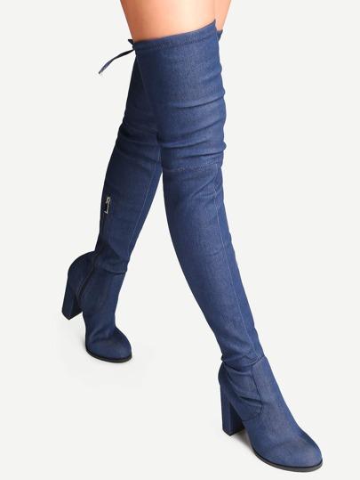 Botas de denim en punta con tacón - azul