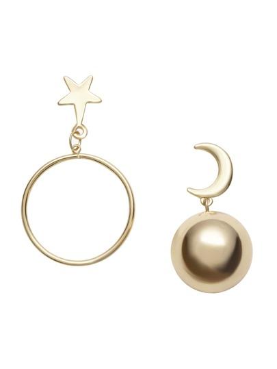 Gold Moon Ball Star Hoop Asymmetrical Earrings